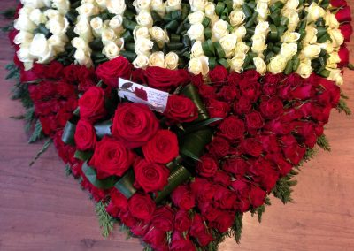 Large Red Rose Heart Tribute
