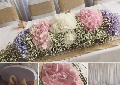 Hydrangea and Gypsophila Table Centre