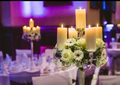 Candelabra Table Centres with flowers
